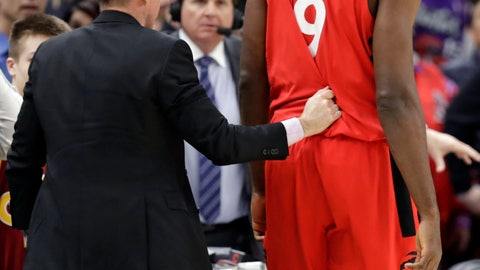 <p>               Toronto Raptors' Serge Ibaka (9), from Republic of Congo, is escorted off the court after getting ejected in the second half of an NBA basketball game against the Cleveland Cavaliers, Monday, March 11, 2019, in Cleveland. The Cavaliers won 126-101. (AP Photo/Tony Dejak)             </p>