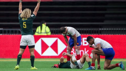<p>               South Africa's Werner Kok (5) celebrates after his team defeats France to win the championship at the World Rugby Sevens Series action in Vancouver, British Columbia, on Sunday March 10, 2019. (Ben Nelms/The Canadian Press via AP)             </p>