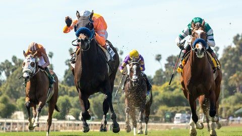 <p>               This image provided by Benoit Photo shows Law Abidin Citizen and jockey Tiago Pereira, second from left, outlegging Mesut (Geovanni Franco), left, Air Vice Marshal (Martin Garcia), third from left, and Cistron (Rafael Bejarano), right, to win the Grade III, $100,000 San Simeon Stakes, Sunday, March 31, 2019 at Santa Anita Park, Arcadia Calif. (Benoit Photo via AP)             </p>