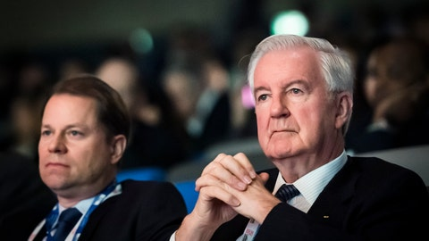 <p>               Olivier Niggli, left, Director General of the world anti-doping agency (WADA), and Craig Reedie, right, President of the WADA, attend the opening day of the 2019 WADA annual symposium at the Swiss Tech Convention Center in Lausanne, Switzerland, Wednesday, March 13, 2019. (Jean-Christophe Bott/Keystone via AP)             </p>