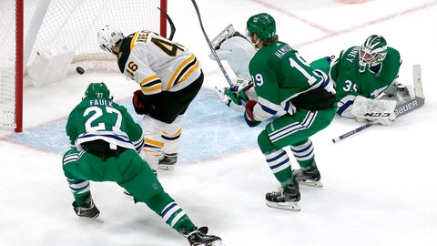 <p>               Boston Bruins center David Krejci (46) scores the game-winning goal past Carolina Hurricanes goaltender Curtis McElhinney (35) and defenders Justin Faulk (27) and Dougie Hamilton (19) during extra time of an NHL hockey game, Tuesday, March 5, 2019, in Boston. (AP Photo/Mary Schwalm)             </p>