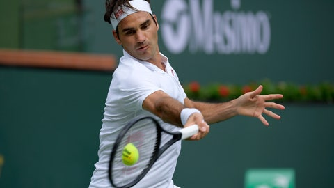 <p>               Roger Federer, of Switzerland, returns a shot to Peter Gojowczyk, of Germany, at the BNP Paribas Open tennis tournament Sunday, March 10, 2019, in Indian Wells, Calif. (AP Photo/Mark J. Terrill)             </p>