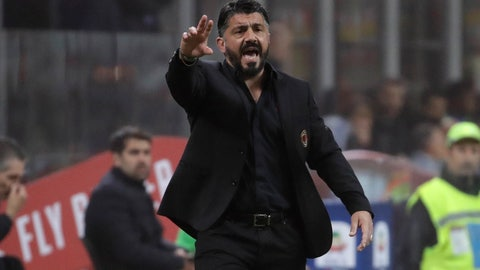 <p>               AC Milan coach Gennaro Gattuso shouts out from the touchline during a Serie A soccer match between AC Milan and Inter Milan, at the San Siro stadium in Milan, Italy, Sunday, March 17, 2019. (AP Photo/Luca Bruno)             </p>