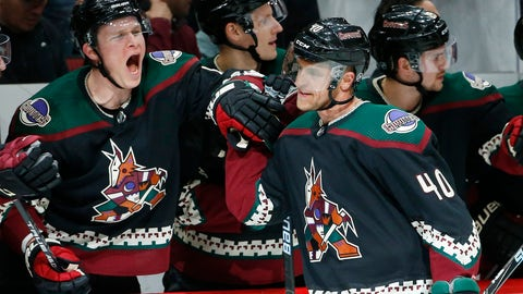 <p>               Arizona Coyotes right wing Michael Grabner (40) celebrates his goal against the Los Angeles Kings with Coyotes' Jakob Chychrun, left, during the first period of an NHL hockey game Saturday, March 9, 2019, in Glendale, Ariz. (AP Photo/Ross D. Franklin)             </p>