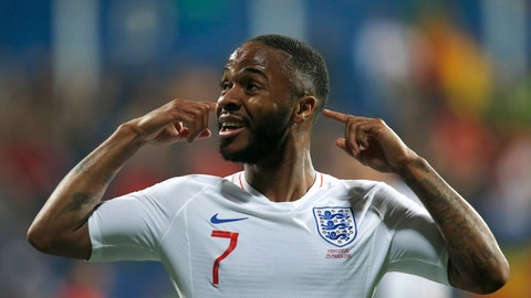 <p>               England's Raheem Sterling celebrates scoring his side's fifth goal during the Euro 2020 group A qualifying soccer match between Montenegro and England at the City Stadium in Podgorica, Montenegro, Monday, March 25, 2019. (AP Photo/Darko Vojinovic)             </p>