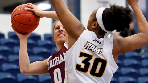 <p>               Fordham's Zara Jillings (0) shoots as VCU's Danielle Hammond (30) defends during the first half of an NCAA college basketball game in the Atlantic 10 tournament, Sunday, March 10, 2019, in Pittsburgh. (AP Photo/Keith Srakocic)             </p>