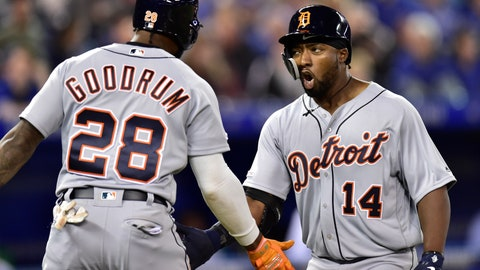 <p>               Detroit Tigers' Christin Stewart (14) celebrates his two-run home run with Niko Goodrum (28) during the 10th inning against the Toronto Blue Jays in a baseball game in Toronto, Thursday, March 28, 2019. (Frank Gunn/The Canadian Press via AP)             </p>