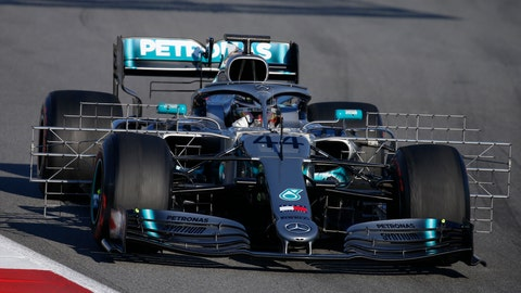 <p>               FILE - In this file photo dated Tuesday, Feb. 26, 2019, Mercedes driver Lewis Hamilton of Britain steers his car during a Formula One pre-season testing session at the Catalunya racetrack in Montmelo, outside Barcelona, Spain.  Previewing the upcoming 2019 season, last season was arguably Hamilton's best to date but he is ready to launch his quest for the next Formula One world championship title.  (AP Photo/Joan Monfort, FILE)             </p>