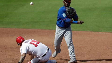 <p>               New York Mets second baseman Dilson Herrera (16) forces out Washington Nationals' Matt Adams (15) at second on a double play in the fourth inning of an exhibition spring training baseball game Thursday, March 7, 2019, in West Palm Beach, Fla. (AP Photo/Brynn Anderson)             </p>