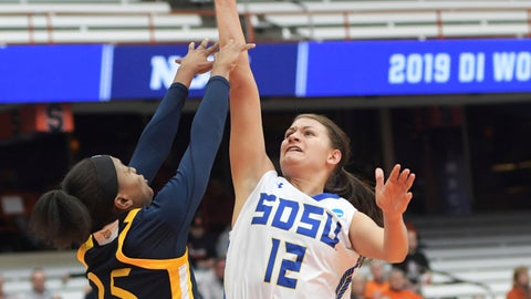 <p>               South Dakota State's Macy Miller (12) attempts a basket against Quinnipiac's Aryn McClure (25) during a first round of women's college basketball game in the NCAA Tournament in Syracuse, N.Y., Saturday, March 23, 2019. (AP Photo/Heather Ainsworth)             </p>