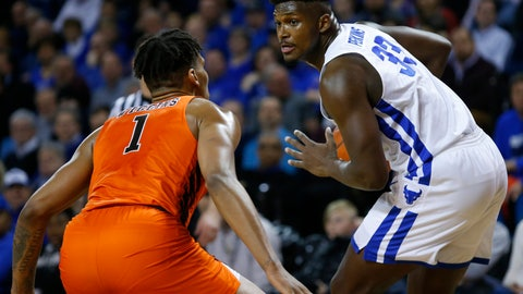 <p>               Buffalo forward Nick Perkins (33) is defended by Bowling Green forward Demajeo Wiggins (1) during the first half of an NCAA college basketball game, Friday, March 8, 2019, in Buffalo, N.Y. (AP Photo/Jeffrey T. Barnes)             </p>
