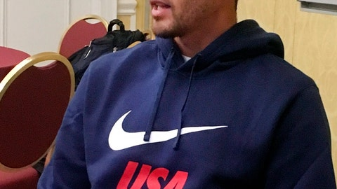 <p>               United States defender Omar Gonzalez speaks with reporters Tuesday, March 19, 2019, at U.S. soccer training camp in Davenport, Fla. Gonzalez is back with the U.S. national team for the first time since his own goal at Trinidad and Tobago in October 2017 helped cost the Americans a World Cup berth.  (AP Photo/Ron Blum)             </p>