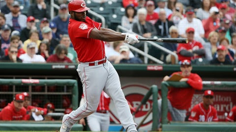 <p>               FILE - In this March 11, 2019, file photo, Cincinnati Reds' Yasiel Puig connects for a home run during the third inning of a spring training baseball game Monday,, in Goodyear, Ariz. Puig leads an infusion of players who hope to lead the last-place Reds back to respectability. (AP Photo/Ross D. Franklin, File)             </p>