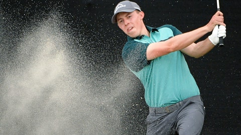 <p>               Matthew Fitzpatrick, of England, hits out of a bunker onto the 17th green during the third round of the Arnold Palmer Invitational golf tournament Saturday, March 9, 2019, in Orlando, Fla. (AP Photo/Phelan M. Ebenhack)             </p>