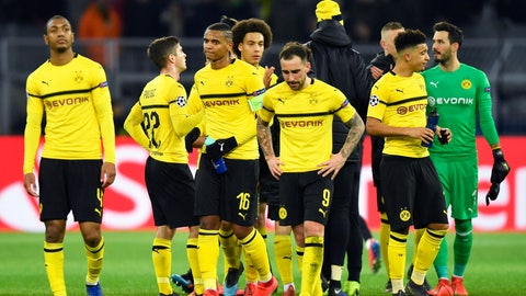 <p>               Dortmund players leave the field at the end of the Champions League round of 16, 2nd leg, soccer match between Borussia Dortmund and Tottenham Hotspur at the BVB stadium in Dortmund, Germany, Tuesday, March 5, 2019. Tottenham won 1-0. (AP Photo/Martin Meissner)             </p>