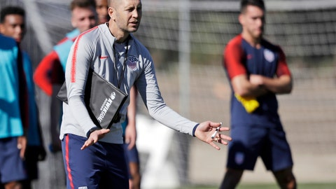 <p>               FILE - In this Jan. 7, 2019, file photo, United States head coach Gregg Berhalter instructs players during a soccer training camp in Chula Vista, Calif. Berhalter prepares for U.S. national team matches like a business executive getting ready for a deal, using video presentations when he meets with foreign-based players via computer. He has also tripled the team's data analysts to three. (AP Photo/Marcio Jose Sanchez, File)             </p>