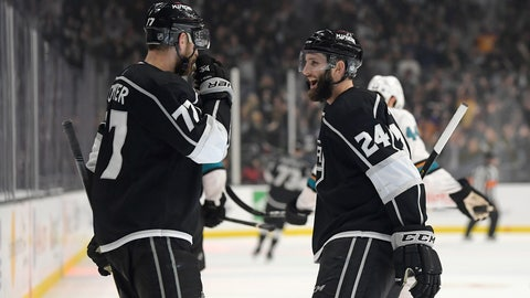 <p>               Los Angeles Kings center Jeff Carter, left, celebrates his empty-net goal with defenseman Derek Forbort during the third period of the team's NHL hockey game against the San Jose Sharks on Thursday, March 21, 2019, in Los Angeles. The Kings won 4-2. (AP Photo/Mark J. Terrill)             </p>