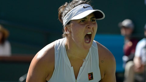 <p>               Bianca Andreescu, of Canada, celebrates after winning a game against Angelique Kerber, of Germany, during the women's final at the BNP Paribas Open tennis tournament Sunday, March 17, 2019, in Indian Wells, Calif. (AP Photo/Mark J. Terrill)             </p>