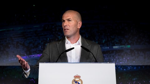 <p>               Newly appointed Real Madrid head coach Zinedine Zidane speaks during a press conference in Madrid, Monday March 11, 2019. Real Madrid picked one of its most successful coaches to try to end one of its worst crises. Zidane is returning to coach Real Madrid, the club he led to three straight Champions League titles. (AP Photo/Bernat Armangue)             </p>