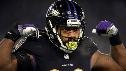Baltimore Ravens outside linebacker Za'Darius Smith gestures in the first half of an NFL football game against the Cleveland Browns in Baltimore. The Green Bay Packers agreed to $183 million