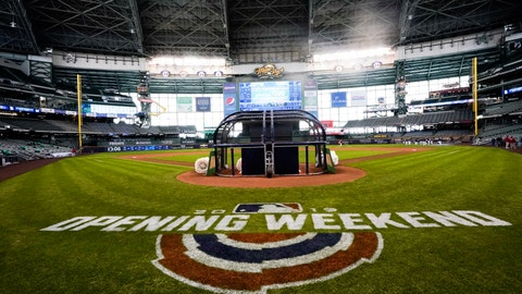 <p>               Miller Park is seen before an Opening Day baseball game between the Milwaukee Brewers and the St. Louis Cardinals Thursday, March 28, 2019, in Milwaukee. (AP Photo/Morry Gash)             </p>