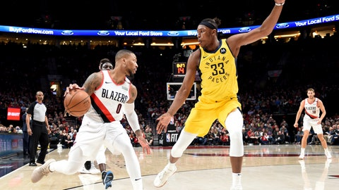 <p>               Portland Trail Blazers guard Damian Lillard, left, tries to get past, Indiana Pacers center Myles Turner, right, during the first half of an NBA basketball game in Portland, Ore., Monday March 18, 2019. (AP Photo/Steve Dykes)             </p>