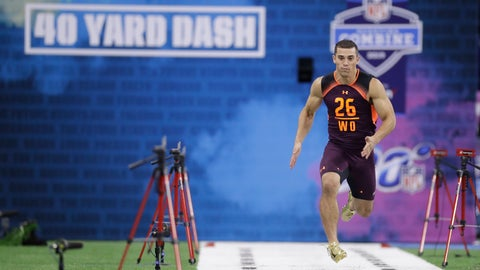 <p>               Massachusetts wide receiver Andy Isabella runs the 40-yard dash during the NFL football scouting combine, Saturday, March 2, 2019, in Indianapolis. (AP Photo/Darron Cummings)             </p>