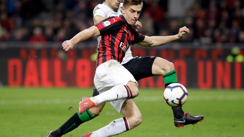 <p>               FILE - In this Saturday, March 2, 2019 file photo, AC Milan's Krzysztof Piatek, foreground, and Sassuolo's Merih Demiral vie for the ball during their Serie A soccer match at the San Siro stadium in Milan, Italy. Just five months after beating AC Milan a derby defeat could leave crisis-hit Inter Milan in danger of missing out on the Champions League. Icardi scored a stoppage-time winner in the October derby but he has not played in more than a month, since being stripped off his captaincy amid protracted contract negotiations. Icardi's downfall and Krzysztof Piatek's arrival at Milan from Genoa means the two sides approach the second derby of the season in very different moods to the first. (AP Photo/Luca Bruno, File )             </p>