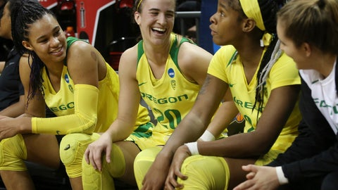 <p>               Oregon's Satou Sabally, left, Sabrina Ionescu, Ruthy Hebard and Taylor Chavez smile and talk on the bench near the end of the team's first-round game against Portland State in the NCAA women's college basketball tournament Friday, March 22, 2019, in Eugene, Ore. (AP Photo/Chris Pietsch)             </p>