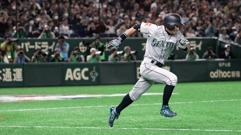 <p>               Seattle Mariners' Ichiro Suzuki heads to first as he grounds out in the fourth inning of a pre-season exhibition baseball game against the Yomiuri Giants at Tokyo Dome in Tokyo Sunday, March 17, 2019. (AP Photo/Eugene Hoshiko)             </p>