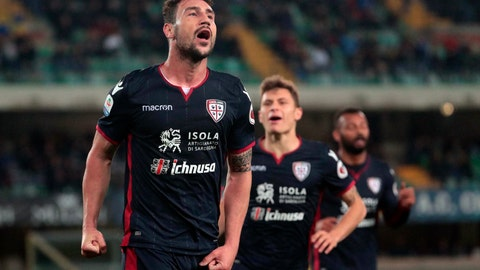 <p>               Cagliari's Artur Ionita celebrates after scoring his side's third goal during the Italian Serie A soccer match between AC ChievoVerona vs Cagliari Calcio at the Marcantonio Bentegodi stadium in Verona, Italy, Friday, March 29, 2019. (Filippo Venezia/ansa via AP)             </p>