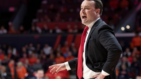 <p>               Indiana coach Archie Miller calls out from the bench during the first half of the team's NCAA college basketball game against Illinois in Champaign, Ill., Thursday, March 7, 2019. (AP Photo/Stephen Haas)             </p>