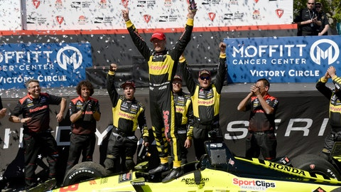 <p>               FILE - In this March 11, 2018, file photo, Sebastien Bourdais celebrates after winning the IndyCar Firestone Grand Prix of St. Petersburg, in St. Petersburg, Fla. St. Petersburg has been good to Bourdais, and he in turn is the unofficial ambassador for IndyCar's season-opening event. The Frenchman will be seeking his third consecutive victory Sunday, March 10, 2019,  on the 1.8-mile course through the picturesque downtown of Bourdais' adopted hometown.  (AP Photo/Jason Behnken, File)             </p>