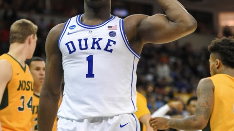 <p>               Duke's Zion Williamson (1) flexes after a basket against North Dakota State in a first-round game in the NCAA men's college basketball tournament in Columbia, S.C., Friday, March 22, 2019. (AP Photo/Richard Shiro)             </p>