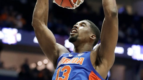 <p>               Florida center Kevarrius Hayes dunks the ball against Auburn in the first half of an NCAA college basketball game at the Southeastern Conference tournament Saturday, March 16, 2019, in Nashville, Tenn. (AP Photo/Mark Humphrey)             </p>