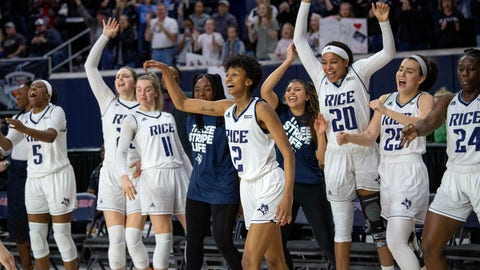 <p>               The Rice bench celebrates with Rice guard Sydne Wiggins (2) after she hit a 3-pointer in the final minute of an NCAA college basketball game against Middle Tennessee in the championship game of the Conference USA women's tournament, Saturday, March 16, 2019, in Frisco, Texas. Rice won 69-54. (AP Photo/Jeffrey McWhorter)             </p>