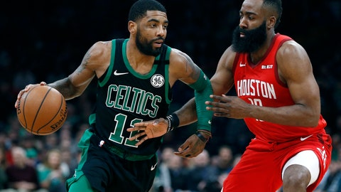<p>               Boston Celtics' Kyrie Irving (11) drives past Houston Rockets' James Harden during the first half of an NBA basketball game in Boston, Sunday, March 3, 2019. (AP Photo/Michael Dwyer)             </p>