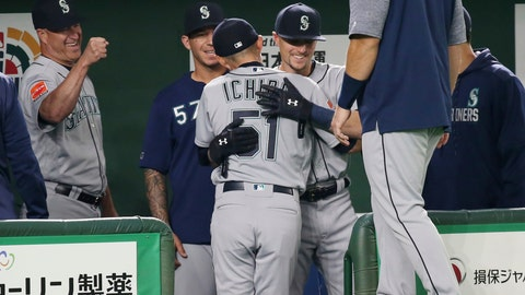 <p>               Seattle Mariners right fielder Ichiro Suzuki, center, is hugged by teammates at bench after leaving the field for defense substitution in the fourth inning of Game 1 of the Major League opening baseball series against the Oakland Athletics at Tokyo Dome in Tokyo, Wednesday, March 20, 2019. (AP Photo/Koji Sasahara)             </p>