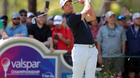 <p>               Paul Casey tees off on the second hole during the final round of the Valspar Championship golf tournament Sunday, March 24, 2019, in Palm Harbor, Fla. (AP Photo/Mike Carlson)             </p>