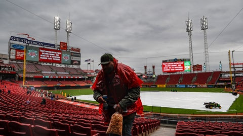 <p>               Fans leave the stands after a postponement due to rain is called before a baseball game between the Cincinnati Reds and the Pittsburgh Pirates, Saturday, March 30, 2019, in Cincinnati. (AP Photo/John Minchillo)             </p>