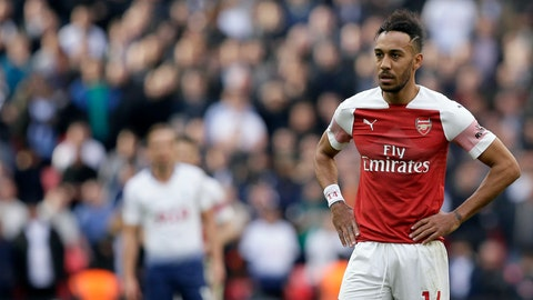 <p>               Arsenal's Pierre-Emerick Aubameyang reacts after missing a penalty during the English Premier League soccer match between Tottenham Hotspur and Arsenal at Wembley stadium in London, Saturday, March 2, 2019. (AP Photo/Tim Ireland)             </p>