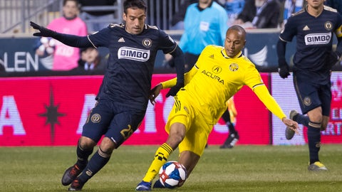 <p>               Columbus Crew's Ricardo Clark, right, goes after the ball along with Philadelphia Union's Ilsinho, left, during the first half of an MLS soccer match, Saturday, March 23, 2019, in Chester, Pa. (AP Photo/Chris Szagola)             </p>
