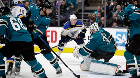 <p>               St. Louis Blues' Brayden Schenn (10) scores a goal against San Jose Sharks goalie Martin Jones (31) during the second period of an NHL hockey game Saturday, March 9, 2019, in San Jose, Calif. (AP Photo/Ben Margot)             </p>