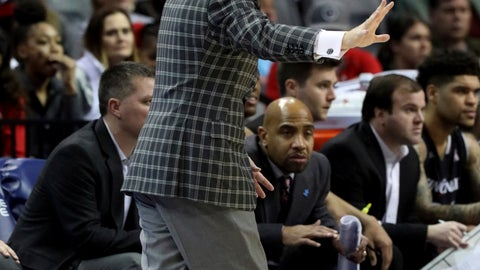 <p>               Cincinnati coach Mick Cronin shouts to his players during the first half of the team's NCAA college basketball game against Houston in the American Athletic Conference men's tournament final Sunday, March 17, 2019, in Memphis, Tenn. (AP Photo/Troy Glasgow)             </p>