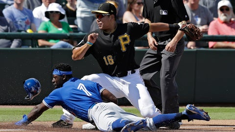 <p>               Toronto Blue Jays' JD Davis (1) slides safely into third base as the ball skips away from Pittsburgh Pirates' Jung Ho Kang during the fourth inning of a spring training baseball game Friday, March 8, 2019, in Bradenton, Fla. Davis advanced on a single by Eric Sogard. (AP Photo/Chris O'Meara)             </p>
