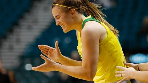 <p>               Oregon's Sabrina Ionescu reacts after a play against Arizona during the second half of an NCAA college basketball game at the Pac-12 women's tournament Friday, March 8, 2019, in Las Vegas. (AP Photo/John Locher)             </p>