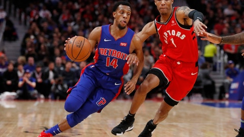 <p>               Detroit Pistons guard Ish Smith (14) drives against Toronto Raptors guard Patrick McCaw (1) during the first half of an NBA basketball game, Sunday, March 3, 2019, in Detroit. (AP Photo/Carlos Osorio)             </p>