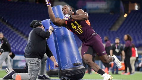 <p>               LSU linebacker Devin White runs a drill at the NFL football scouting combine in Indianapolis, Sunday, March 3, 2019. (AP Photo/Michael Conroy)             </p>