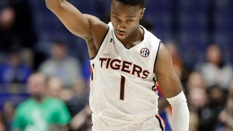 <p>               Auburn guard Jared Harper celebrates after making a 3-point basket against Florida in the first half of an NCAA college basketball game at the Southeastern Conference tournament Saturday, March 16, 2019, in Nashville, Tenn. (AP Photo/Mark Humphrey)             </p>