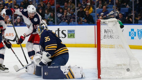<p>               Buffalo Sabres goalie Linus Ullmark (35) is scored against by Columbus Blue Jackets forward Pierre-Luc Dubois (18) during the first period of an NHL hockey game Sunday, March 31, 2019, in Buffalo, N.Y. (AP Photo/Jeffrey T. Barnes)             </p>